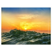 Bright Sunlight and Glowing Waves - Beach Glossy Metal Wall Art