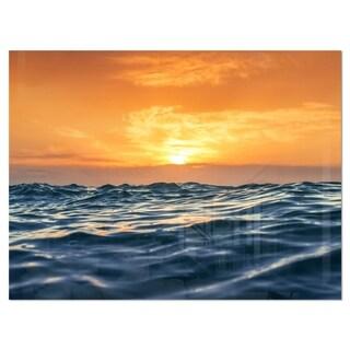 Blue Waves Dancing at Yellow Sunset - Beach Glossy Metal Wall Art