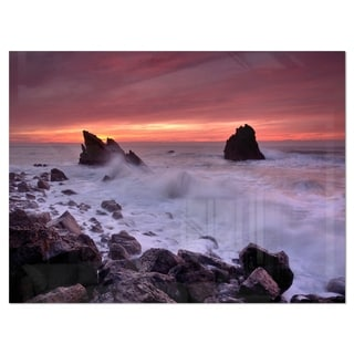 Force of Sea Hitting Rocky Coast - Contemporary Seascape Glossy Metal Wall Art