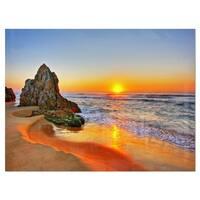 Beautiful Sunrise by Beach in Tathra - Contemporary Seascape Glossy Metal Wall Art