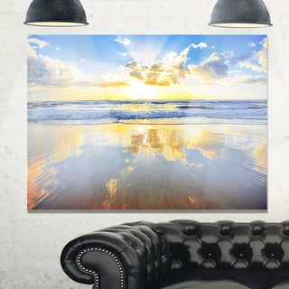 Blue Sky and Clouds Mirrored in Sea - Contemporary Seascape Glossy Metal Wall Art