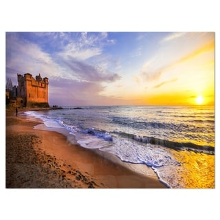 Castle Santa Severa over Sunset Italy - Contemporary Seascape Glossy Metal Wall Art