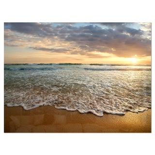 Bright Cloudy Sunset in Calm Ocean - Contemporary Seascape Glossy Metal Wall Art
