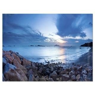 Blue Sea Sunset on Sandy Coastline - Contemporary Seascape Glossy Metal Wall Art