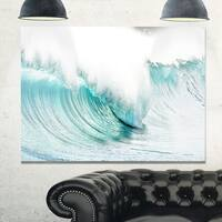 Massive Blue Waves Breaking Beach - Contemporary Seascape Glossy Metal Wall Art