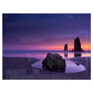 Purple Haystack Rock - Extra Large Seascape Glossy Metal Wall Art