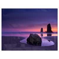 Purple Haystack Rock - Extra Large Seascape Glossy Metal Wall Art
