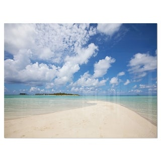 Serene Maldives Beach under Clouds - Extra Large Seascape Glossy Metal Wall Art