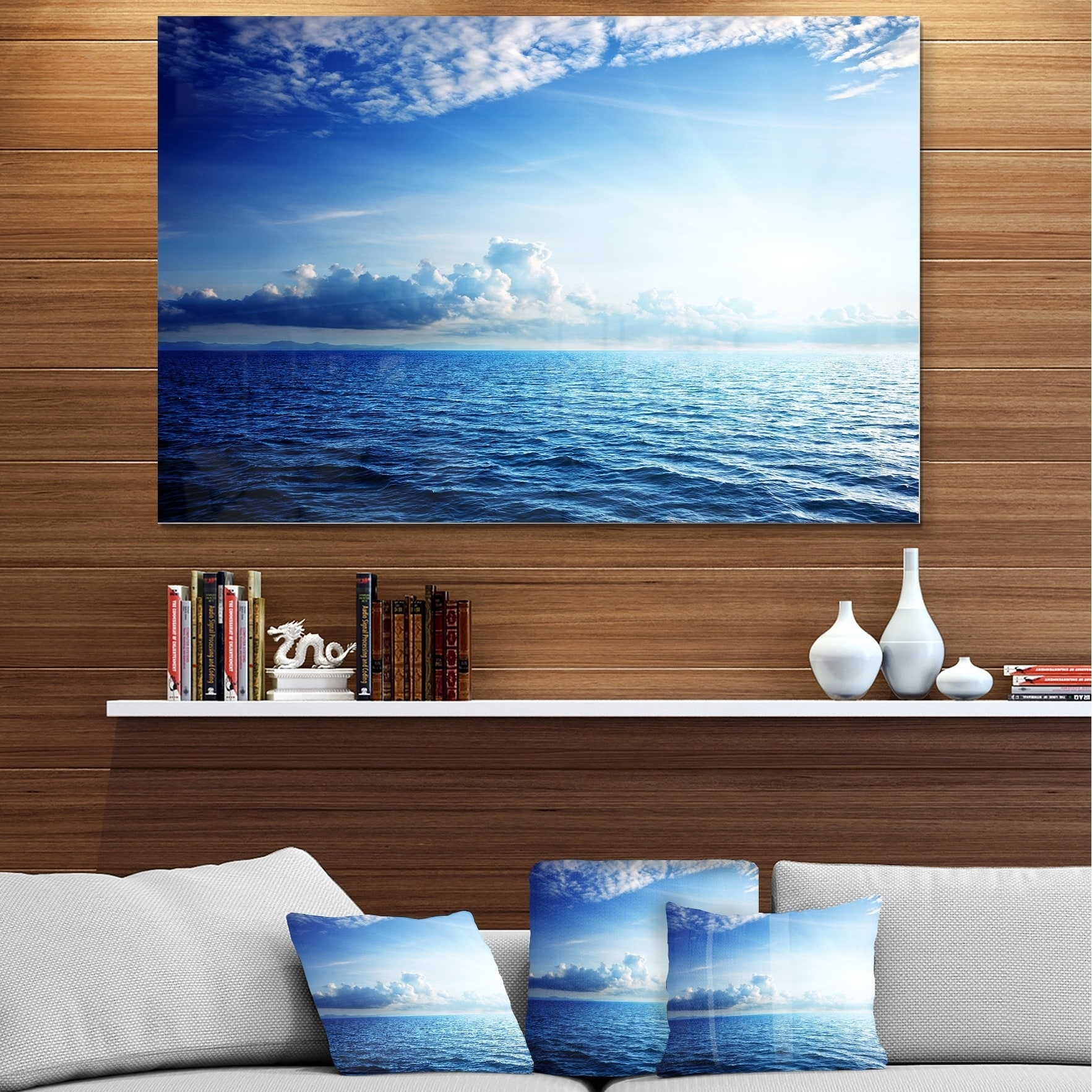 Blue Caribbean Sea And Perfect Blue Sky Extra Large Seascape Glossy Metal Wall Art Overstock 12786781
