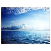 Blue Caribbean Sea and Perfect Blue Sky - Extra Large Seascape Glossy Metal Wall Art