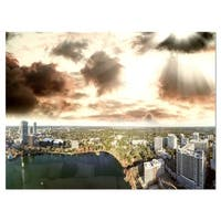 Downtown Orlando Sunset Aerial - Extra Large Seascape Glossy Metal Wall Art