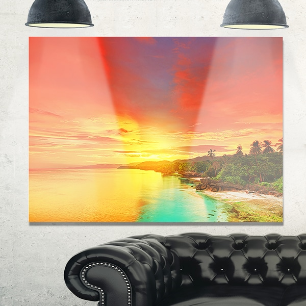 Beautiful Coastline in Philippines - Extra Large Seascape Glossy Metal Wall Art