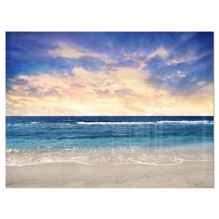 Clear Blue Sky and Ocean at Sunset - Extra Large Seascape Glossy Metal Wall Art