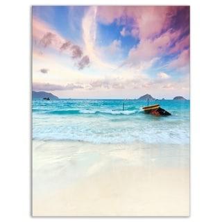 Exotic Seashore Sunset Over Blue Sea - Extra Large Seascape Glossy Metal Wall Art