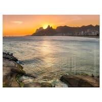Ipanema in Rio de Janeiro Sunset - Extra Large Seascape Glossy Metal Wall Art