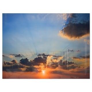 Beautiful Cloudy Sunset Panorama - Extra Large Seascape Glossy Metal Wall Art