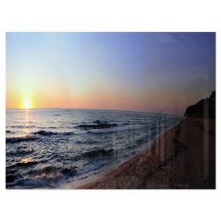 Sunset Beach Panorama - Modern Seashore Glossy Metal Wall Art