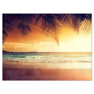Palm Leaves on Caribbean Seashore - Modern Seashore Glossy Metal Wall Art