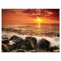 Bright Sunset over Rocky Shore - Modern Seashore Glossy Metal Wall Art