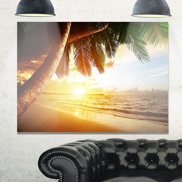 Beautiful Beach under Palms - Modern Seashore Glossy Metal Wall Art