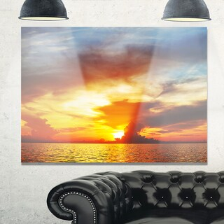 Fiery Sky at Sunset Over Sea - Modern Seashore Glossy Metal Wall Art