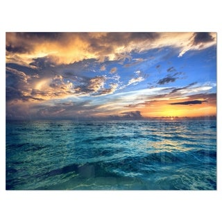Exotic Tropical Beach at Sunset - Modern Seashore Glossy Metal Wall Art