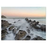 Rocky Beach with White Waters - Modern Seashore Glossy Metal Wall Art