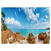 Rocky Seychelles Island Panorama - Oversized Beach Glossy Metal Wall Art