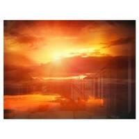 Yellow Sunset above Clouds - Oversized Beach Glossy Metal Wall Art