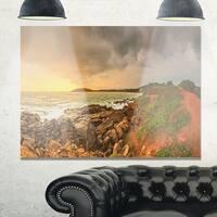 Rocky Romantic Sri Lanka Beach - Oversized Beach Glossy Metal Wall Art