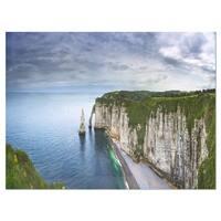 Etretat Aval Cliff and Rocks - Oversized Beach Glossy Metal Wall Art