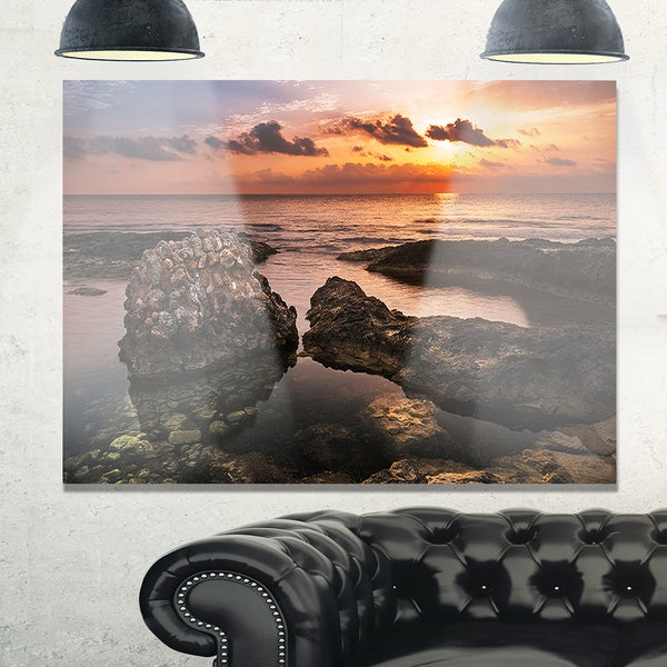 Rough Coast with Ancient Ruins - Oversized Beach Glossy Metal Wall Art
