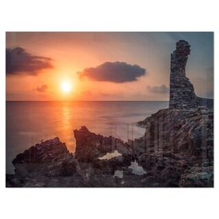 African Ancient Ruins at Seashore - Oversized Beach Glossy Metal Wall Art