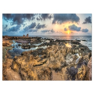 Rocky African Seashore Panorama - Oversized Beach Glossy Metal Wall Art