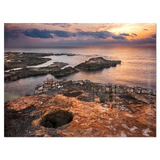 Ancient Ruins on Beach Sunset - Oversized Beach Glossy Metal Wall Art