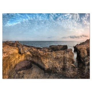 Rough Rocky Coast under Blue Sky - Oversized Beach Glossy Metal Wall Art
