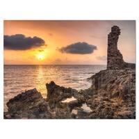 Historic Ruins at Sunset Africa - Extra Large Seashore Glossy Metal Wall Art