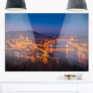 Night View of Budapest City - Extra Large Seashore Glossy Metal Wall Art
