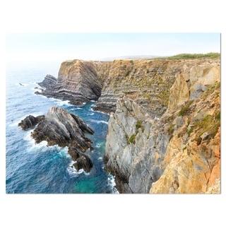 Blue Rocky Bay Portugal Panorama - Extra Large Seashore Glossy Metal Wall Art