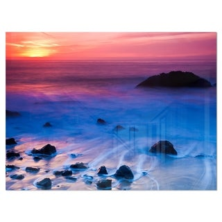 Bright Colorful Rocky Coast Panorama - Extra Large Seashore Glossy Metal Wall Art