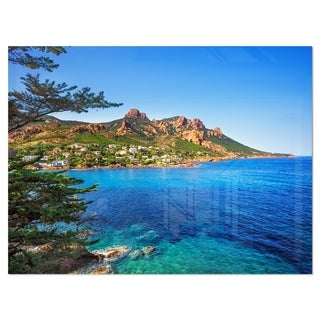 Esterel Rocks Beach Coast in Blue - Extra Large Seashore Glossy Metal Wall Art