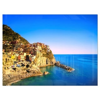 Manarola Village Seashore Italy - Extra Large Seashore Glossy Metal Wall Art