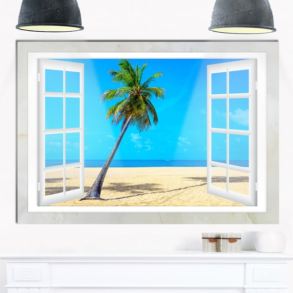 open window to beach with palm extra large seashore. Black Bedroom Furniture Sets. Home Design Ideas