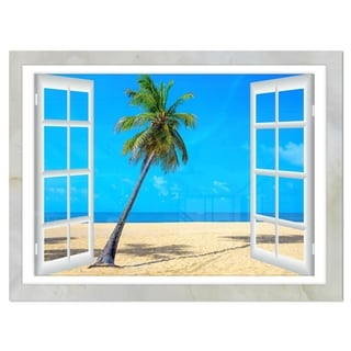 Open Window to Beach with Palm - Extra Large Seashore Glossy Metal Wall Art