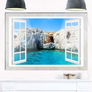 Window Open to Sunny Summer Sea - Extra Large Seashore Glossy Metal Wall Art