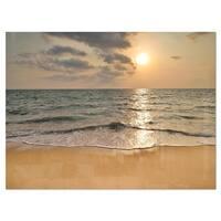 Dark Tropical Sand Beach at Sunset - Modern Seascape Glossy Metal Wall Art