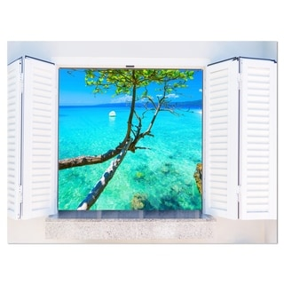 Open Window to Gorgeous Seashore - Modern Seascape Glossy Metal Wall Art