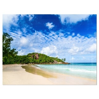 Seychelles Tranquil Tropical Beach - Modern Seascape Glossy Metal Wall Art