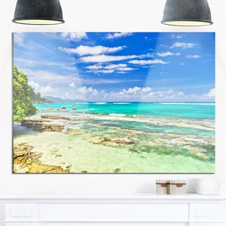 Tranquil Seychelles Tropical Beach - Modern Seascape Glossy Metal Wall Art
