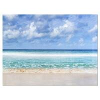Tranquil Beach under White Clouds - Modern Seascape Glossy Metal Wall Art